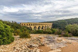 Pont du Gard, ancient Roman aqueduct, UNESCO site in France