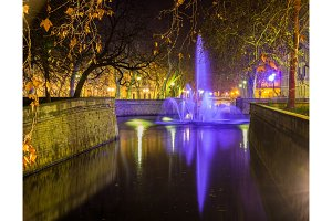Jardins de la Fontaine in Nimes at night - France, Languedoc-Rou