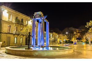 Place d'Assas square in Nimes at night - France