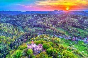Sunset above Berwartstein Castle in the Palatinate Forest. Rhineland-Palatinate, Germany