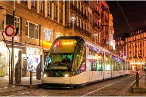 Modern tram in the Strasbourg city center. France, Alsace