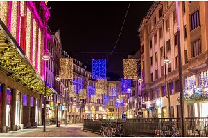The center of Strasbourg decorated for Christmas - France