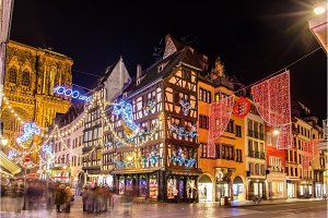 Buildings near the Cathedral in Strasbourg before Christmas