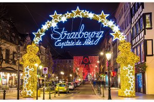 Entrance to the city center of Strasbourg on Christmas time