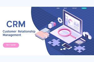 Customer relationship management concept. CRM isometric vector illustration