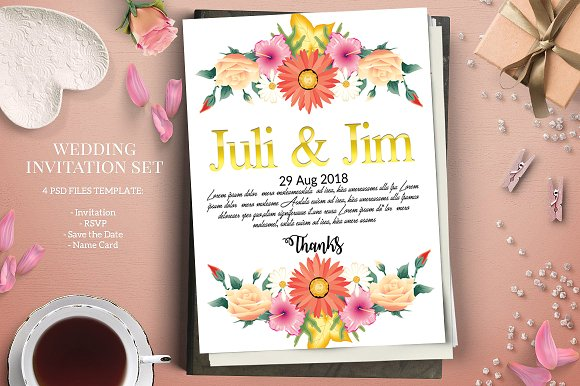 Floral Save The Date Invitation Card