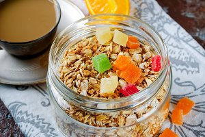 Healthy Breakfast Granola, coffee