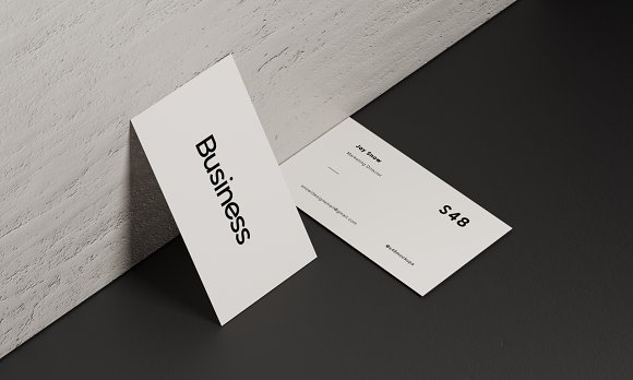5 White Business Card Mockup Pack