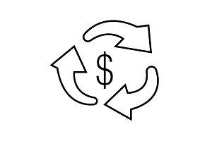 Vector money transfer Icon black