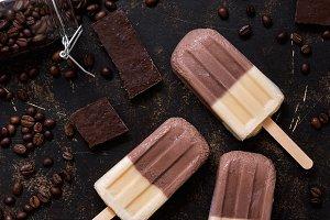 Double ice cream coffee vanilla. Ice