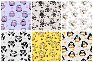 Set seamless pattern from animals, cartoon background