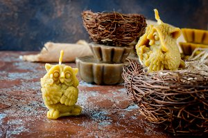 handmade candles in shape owls