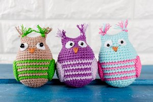 Cute handmade knitted owl toy