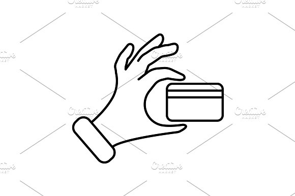Credit Card In Hand Icon Black