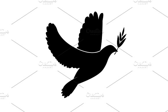 Dove Icon With Olive Branch
