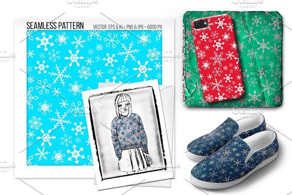 Seamless Christmas Snowflake Pattern