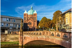View of Saint-Pierre-le-Jeune church in Strasbourg - Alsace, Fra