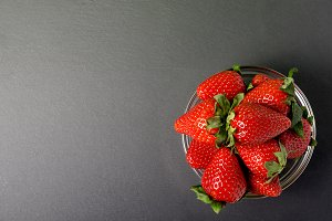 strawberries on the black background
