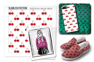 Seamless cherry vector pattern.