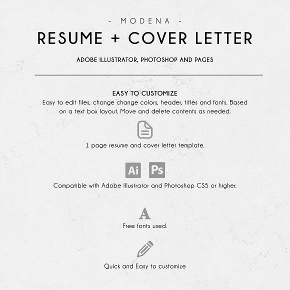 modena resume cover letter resume templates creative market