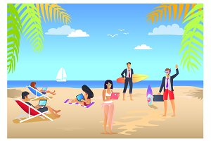Business Summer Vacations Vector Illustration