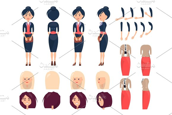 Various Templates Of Female Suits And Hairstyles
