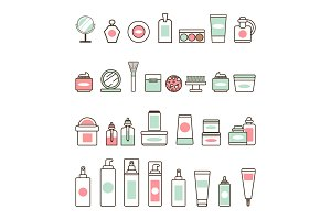 Decorative and Skincare Cosmetics Illustrations
