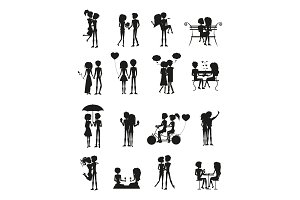 Couples in Love Silhouette Set Vector Illustration