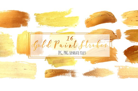 Set 16 Gold Paint Strokes