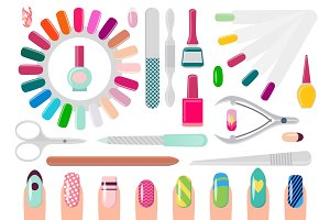 Manicure Service Equipment and Decorated Nails
