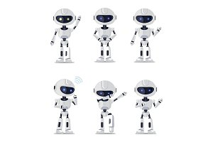 Six Pretty Ai Machines Isolated on White Backdrop