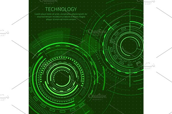 Technology Poster With Text Vector Illustration