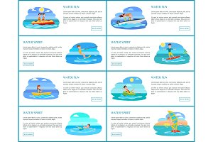 Water Fun Collection of Web Vector Illustration