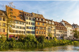 Traditional Alsatian buildings over the Ill river in Strasbourg