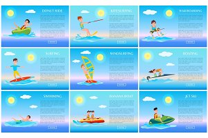 Surfing and Jet Ski, Swimming and Donut Ride Cards