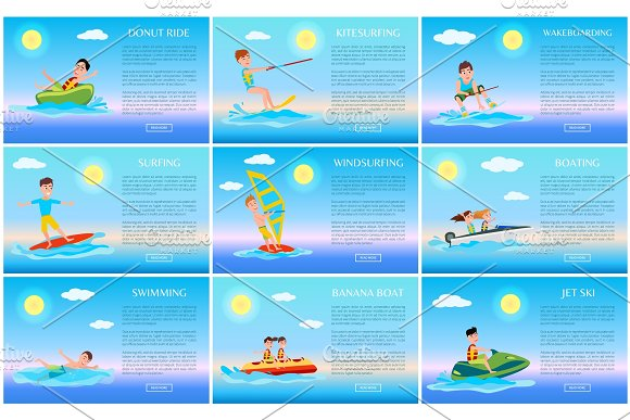 Surfing And Jet Ski Swimming And Donut Ride Cards