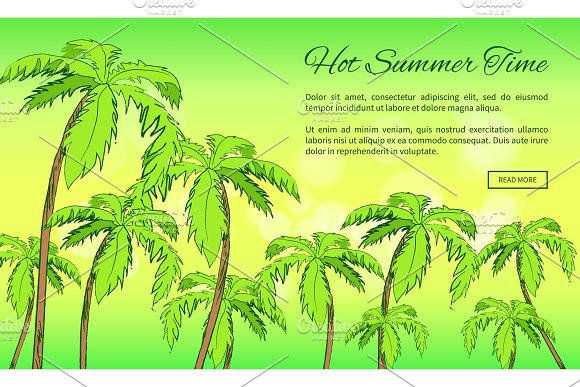 Hot Summer Time Banner With Inscription