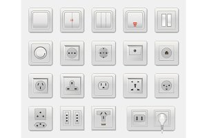 Set of Different Switches Vector Illustration