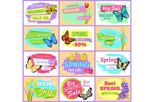 Spring Sale Set Posters Butterflies and Flowers
