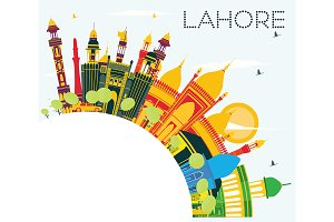 Lahore Skyline with Color Landmarks