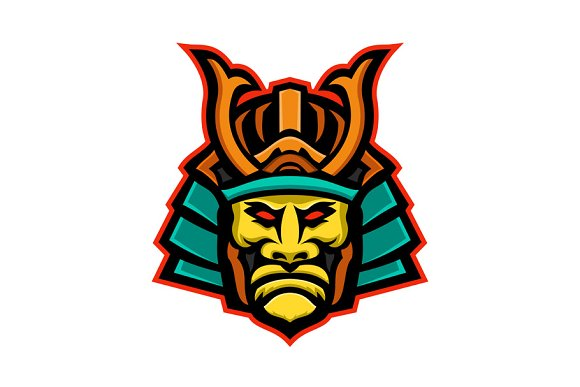 Samurai Warrior Head Mascot