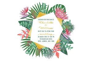 Tropical Wedding Invitation with Geometric Frame
