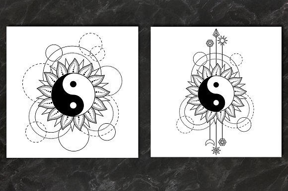 Yin And Yang Tattoo Set
