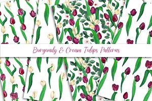 Burgundy and Cream Tulips Patterns