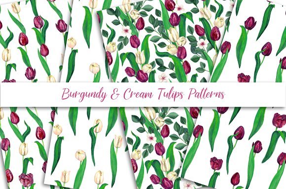 Burgundy And Cream Tulips Patterns