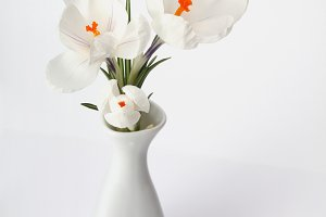 white flower in white vase