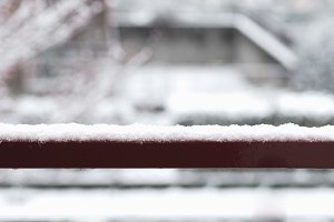 Snow on handrail