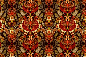 Red Ethnic Seamless Pattern