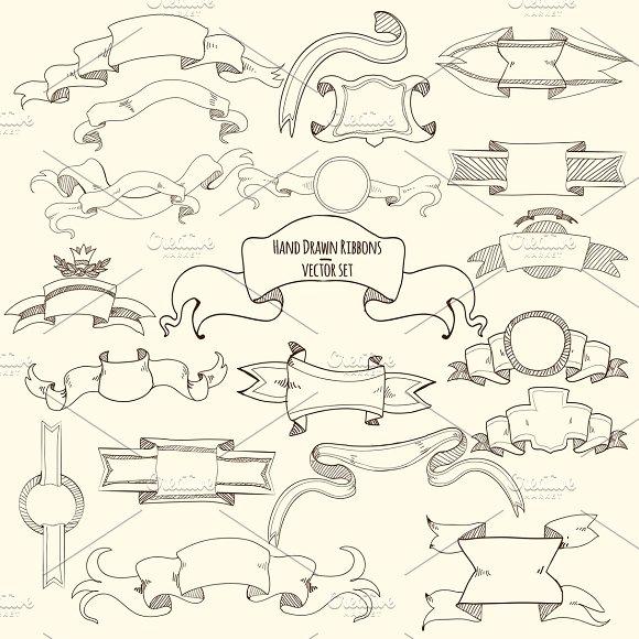 Hand Drawn Ribbons Set