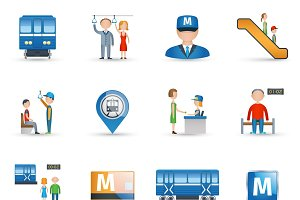 Subway icons set
